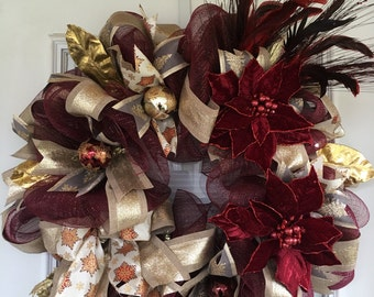 Christmas wreaths for front door, Burgundy Christmas wreath, Front door wreath, Christmas wreath, Wreath for front door
