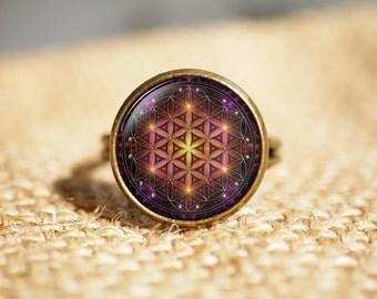 Sacred Geometry rings, Flower of Life rings,Seed Of Life rings,Spiritual rings, Mandala rings, Round rings