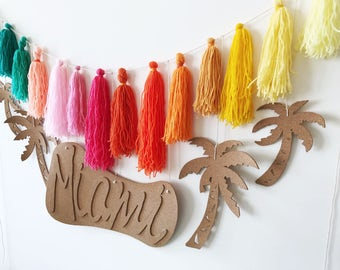 MIAMI, Cork, Tassel Garland-Banner, Wall Decor