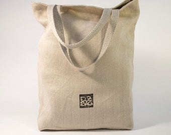 Tote bag, shoulder bag, natural, 100% hemp, sustainable, vegan, organic, ecological