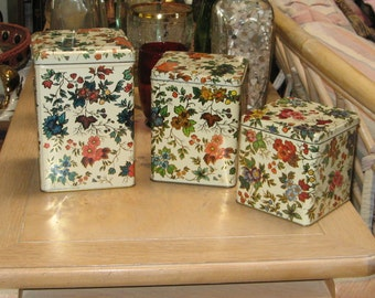 "FLORAL TIN BOX  set 3 ""Daher"""