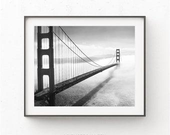 Golden Gate Bridge Print, Black and White Print, San Francisco Bridge Print, San Francisco Poster Print, Bridge in Fog,minimalist print,