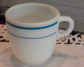 White Anchor Hocking Coffe Cup with Blue Strip