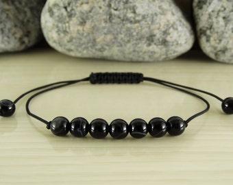 Mens bracelet for men beaded bracelet black agate bracelet mens gift for men black bracelet mens jewelry for men cord bracelet yoga bracelet