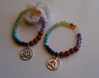 Bracelet chakras / Bracelet spiritual balance / Bracelet Lotus and meditation / Energy bracelet / Yoga bracelet made of  stones. Gemoterapy