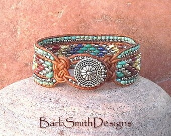 Turquoise Silver Beaded Leather Wrap Cuff Bracelet - The Knotty One in Aztec - Customize It!