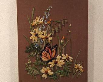 1970s Crewel Art, Vintage Butterfly and Flowers Needlework, 70s Handmade Wall Decor, Textile Art, Fabric Art
