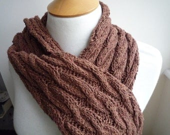 Rusty brown hand knit cabled scarf
