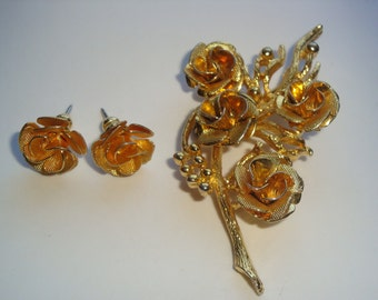 Vintage Unsigned Coro Rose Flower Brooch and Pierced Earring Set