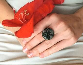"Ring crochet ""Safari"" from beads, green beads work,"