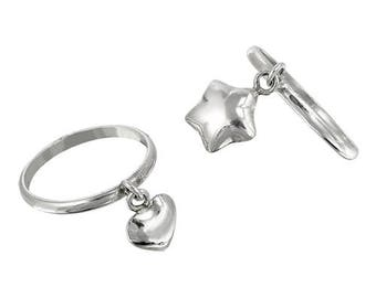 Sterling Silver Small Heart or Star Charm Ring. Dainty Ring, Charm Ring, Little Ring, Unique Ring, Simple Every day, For her, Girls ring