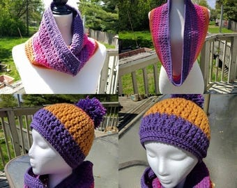 Garden infinity scarf and matching hat