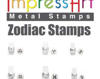 6MM Zodiac Stamps, Zodiac Metal Stamps, Metal Stamping Kits, Zodiac Stamps, Zodiac Stamp, Zodiac Impress Art Stamp, Impress Art Zodiac Stamp
