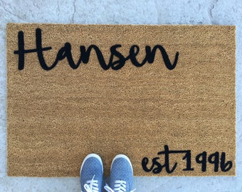door mat - Doormat - welcome mat- personalized doormat- Personalized Door Mat - Custom door mat - monogram door mat - 'Hansen' Design