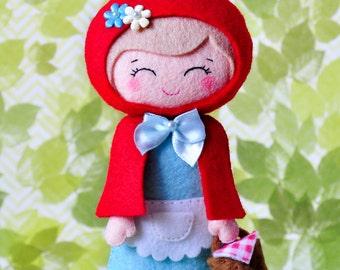 Little Red Riding Hood, felt doll plush toy, Woodland decor, Fairytale felt doll, baby shower, Baby girl gift, nursery decor, felt figures