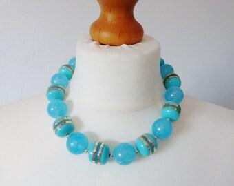 Vintage Aqua Lucite Necklace