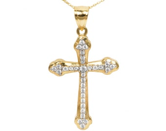 10k Yellow Gold Cubic Zirconia Cross Pendant