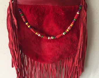 Red women's fridge fur handbag, new unique vintage style designer handmade bag for lady's, size - medium