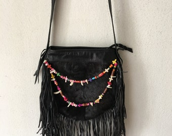 Black handmade crossbody women's bag, real leather with fashionable leather fringe, bag decorated with colored beads & fur, new, size-small.