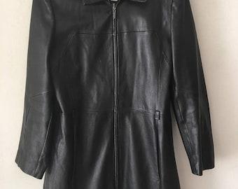 Modern leather coat from real leather soft & genuine leather stylish coat long coat old coat vintage style black women's has size-large.