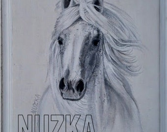 White Horse, Stallion, Black and White Original Painting, Original Art