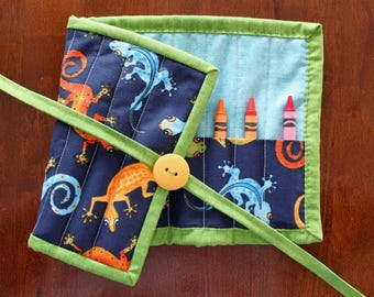 Gecko Crayon Holder, Lizard Crayon Roll Up, Gecko Crayon Roll, Blue Crayon Holder, Animal Crayon Roll, Blue, Crayon Tote, Quilted Handmade