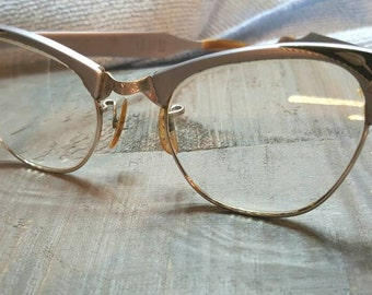 Vintage Artcraft Eye glasses aluminum, etched 1950, cat eye, glasses Rockabilly, Fifties glasses