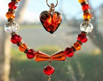 Sunset Flower Window Jewellery. Orange and Red Sun Catcher, Suncatcher, Lampwork Bead, Heart Bead, Prism.