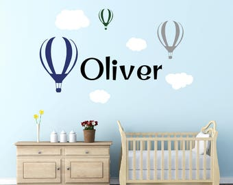 Hot Air Balloon Wall Decal - Boy Name Wall Decal - Removable Vinyl Wall Decal