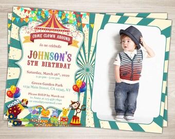 Circus Birthday Invitation. Circus Invitation. Photo Birthday Invitation Printable Circus Themed Party 4th 5th 6th Birthday Party Invitation
