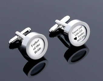 Father of the Bride Cufflink, Personalized Wedding Cufflink, Wedding Gift, Men Custom Cufflink, Custom Cuff Link, Gift for Bride, Daddy Gift