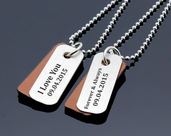 Personalized Couples Necklace, Custom Matching Date Necklace, Men Women Necklace, Couples Jewelry, Couple Gift, His Hers Necklace, Gift Idea