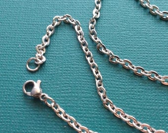 "10 Cable Chain Necklaces Stainless Steel 23.6"" Lobster Clasp - NSS2661"