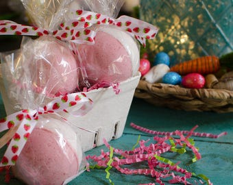 Strawberry Bath Bombs- Spring Bath Bomb, Spring Gifts, Bath Fizzies - Bath Fizz - Gifts for Kids - Easter Basket Goodies