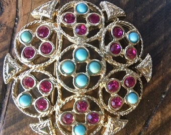Vintage Mid Century Sarah Coventry Gold Tone Blue Purple Stone Circular Brooch Pin Faux Turquoise