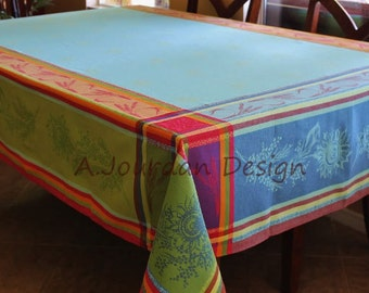 French Tablecloths Provence Cezanne Blue Jacquard Woven Teflon Coated - 100% Cotton Tablecloth - Matching Jacquard napkins available