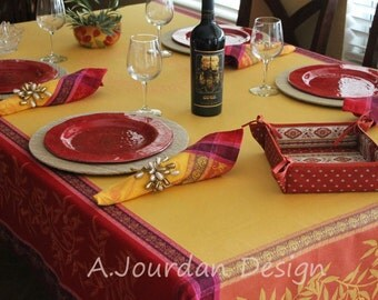 French Country Tablecloths Olives Fuchsia Jacquard Woven Teflon Coated   100% Cotton Tablecloth   Matching