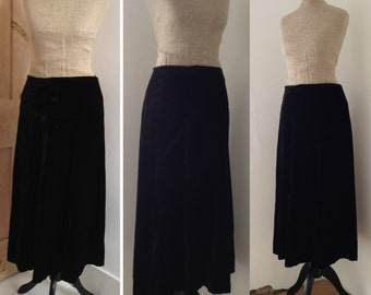 Vintage 1940s 1950s skirt silk velvet A-line Evening gown Steampunk Goth