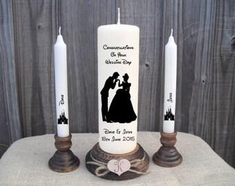 Personalised Cinderella & Prince Charming Disney Unity Candle Set Wedding Engagement Centrepiece Gift Keepsake Anniversary Valentines Day