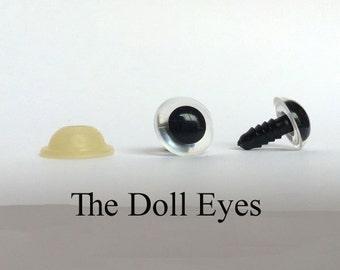 Safety eyes clear, 10 mm, 5 pairs, stuffed eyes, animal eyes, amigurumi, (SB10-CLEAR)