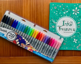 SALE!! Adult Colouring Book, A4 Inky Treasures, with a set of 28 Sharpies