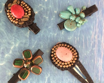 Hair slides handmade semi precious stones set of 4