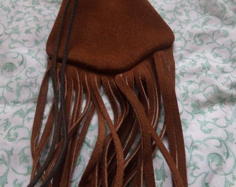 Leather,Swede Draw String,Fringed Pouch