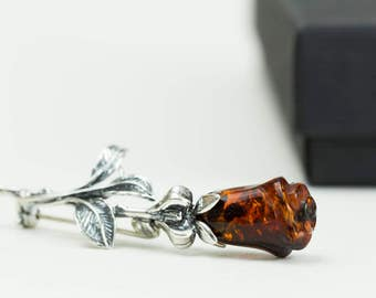 Handmade Baltic Amber Brooch. Cognac Amber Rose Brooch. Amber&Sterling Silver Jewelry.