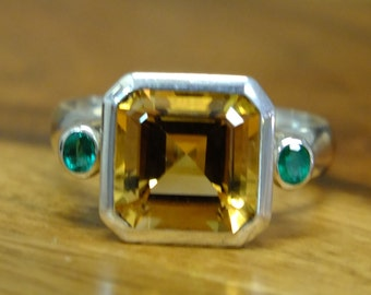 Citrine and Emerald silver ring