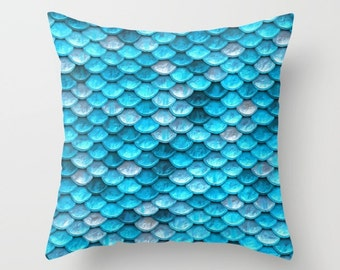 Blue Pillow Cover, Mermaid Cushion, Ocean Throw Pillow, Blue Accent Pillow, Nautical Decor, Beach Vibe, Mermaid Scales, Blue Bedroom Decor