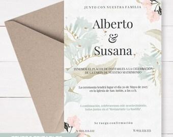 plantilla pdf invitacin boda flores descarga instantnea invitacin de boda en espaol con textos