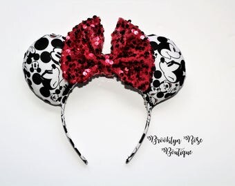 Faces of Mickey Minnie Mouse Ears Headband