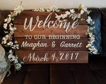 Greeting sign for wedding or bridal shower