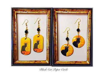 Le Chat Noir handmade earrings handmade decoupage art